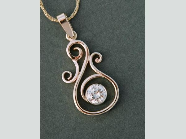 Scroll pendant with chain Hand fabricated from customer 39s wedding band and